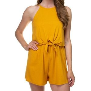 Sleeves ribbed front tie romper
